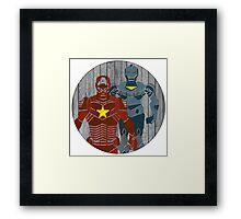 Superhero on wood surface Framed Print