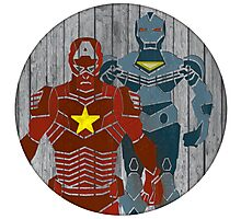 Superhero on wood surface Photographic Print