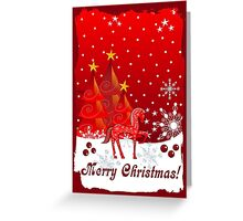 Merry Christmas text card with Xmas trees, snow and a cute decorated horse Greeting Card