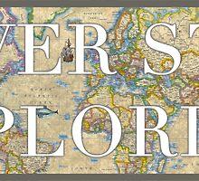 World Map - Never Stop Exploring Sticker by haleygrace21