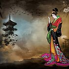 Japanese girl with a landscape in the background. by andy551
