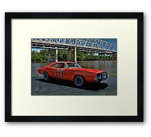 "1968 Dodge Charger RT ""General Lee"" Replica Framed Print"