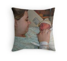 Mother and childs frist glance Throw Pillow