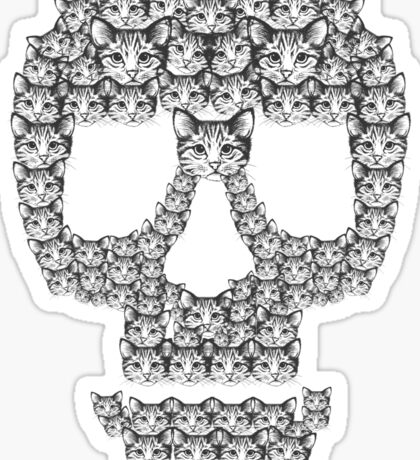 Skull Are For Pussies Funny Gift Cat Sticker