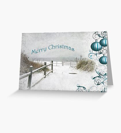 "Snowy Beach Path ""Merry Christmas"" ~ Greeting Card Greeting Card"