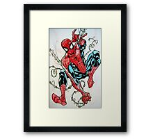 Spider-man Swinging Framed Print