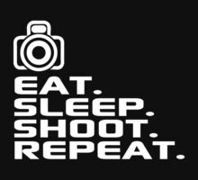 Amazing 'Eat. Sleep. Shoot. Repeat.' Photographer's T-Shirt and Accessories by Albany Retro