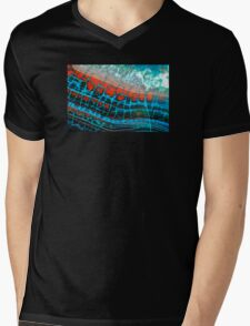 Blue Red Dragon Vein Agate Pattern Mens V-Neck T-Shirt