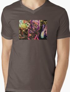 Abstract Graffiti Sea Sediment Agate Pattern Mens V-Neck T-Shirt