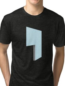 Glitch Homes Wallpaper blue stucco left divide Tri-blend T-Shirt