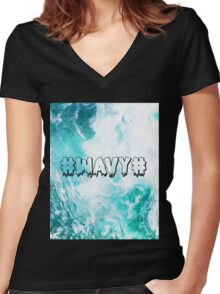 #WAVY# Women's Fitted V-Neck T-Shirt
