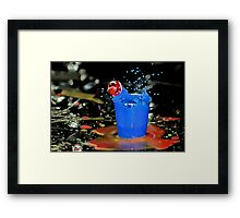 Exploding Blue With Red Bubble! Framed Print