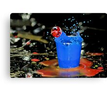 Exploding Blue With Red Bubble! Canvas Print