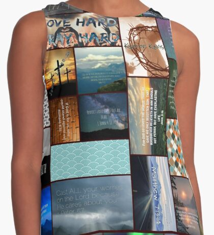 Faith and Love Collage Contrast Tank