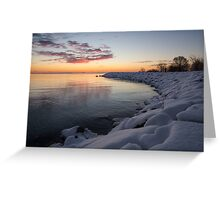 Small Cove Pink and Snowy Dawn Greeting Card