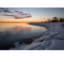 Small Cove Pink and Snowy Dawn Photographic Print