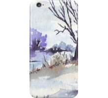 Winter at the pond iPhone Case/Skin