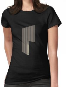 Glitch Homes Wallpaper brown stripes right divide Womens Fitted T-Shirt