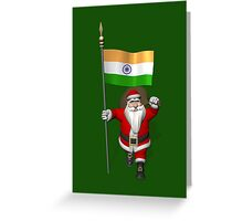 Santa Claus With Flag Of India Greeting Card