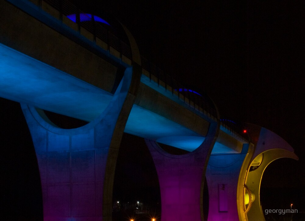 The Falkirk Wheel at night by georgyman