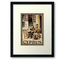 Travel Poster 03 - Kafenion, Panayia Village - Cyprus Framed Print