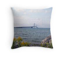 Mackinac Bridge Daytime Throw Pillow