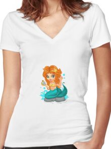A Cute little mermaid and a compass Women's Fitted V-Neck T-Shirt