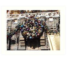 Disneyland Christmas Time- Castle Wreath Art Print