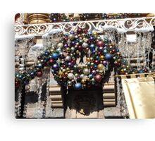 Disneyland Christmas Time- Castle Wreath Canvas Print