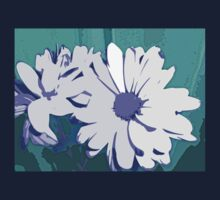 White and Purple Flower on Teal Green Background Abstract Design Kids Tee