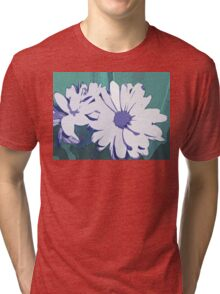 White and Purple Flower on Teal Green Background Abstract Design Tri-blend T-Shirt