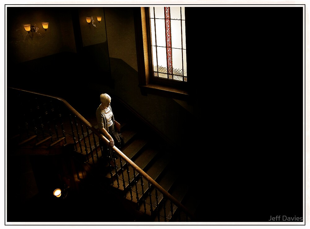 Lady on the stairs by Jeff Davies