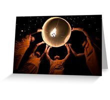 Young Monks releasing a lantern - Thailand Greeting Card