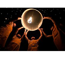 Young Monks releasing a lantern - Thailand Photographic Print