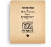 Shakespeare's A Midsummer Night's Dream Front Piece Canvas Print