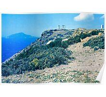 Climbing Cape Sounion, Attica, Greece Poster