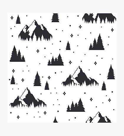 Black and White Mountains - Snow Ski Snowboard Christmas Theme Photographic Print