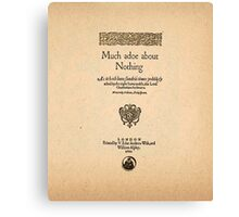 Shakespeare's Much Ado About Nothing Front Piece Canvas Print
