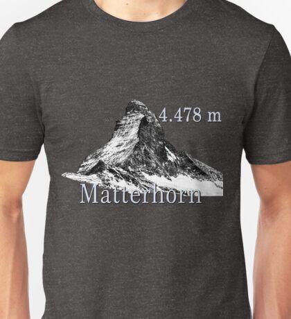 Matter Horn Mountain in black and white Unisex T-Shirt
