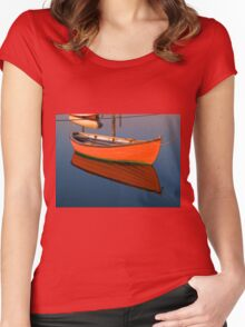 Small dinghy dory floating in the water Women's Fitted Scoop T-Shirt