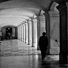 Pacing the cloister - Hampton Court Palace - London UK by Norman Repacholi