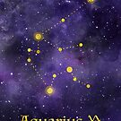 Aquarius Zodiac constellation, astronomy, astrology, horoscope, watercolour space painting with gold effect stars, font and symbol. by Sandra O'Connor