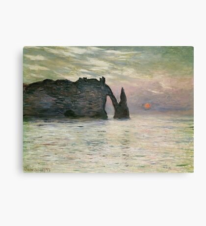 Claude Monet - The Manneport, Cliff At Etretat, Sunset, 1883 Canvas Print