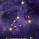 Capricorn Zodiac constellation, astronomy, astrology, horoscope, watercolour space painting with gold effect stars, font and symbol. by Sandra O'Connor