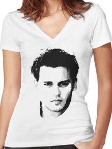 johnny depp t-shirt Women's Fitted V-Neck T-Shirt