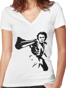 DIRTY HARRY T-SHIRT ON LITE Women's Fitted V-Neck T-Shirt