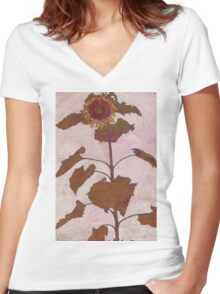 Egon Schiele - Sunflower 1909 Women's Fitted V-Neck T-Shirt