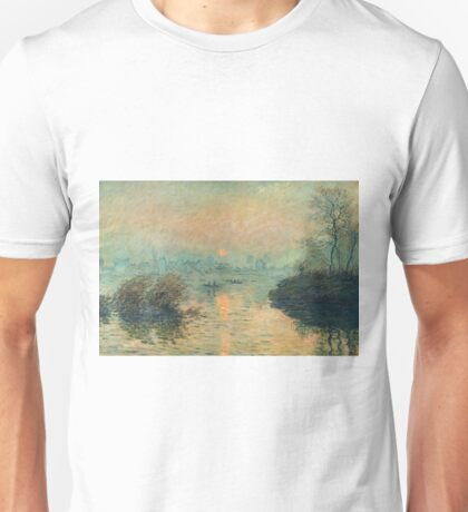 Claude Monet - Sunset On The Seine At Lavacourt Winter Effect 1880 Unisex T-Shirt