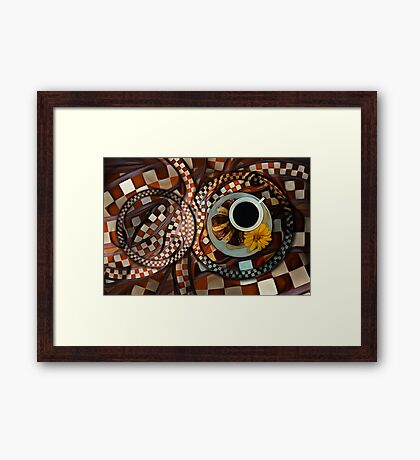 Midnight Never Ends, a Diner Shop Fractal Tribute to Coffee Conversations Framed Print