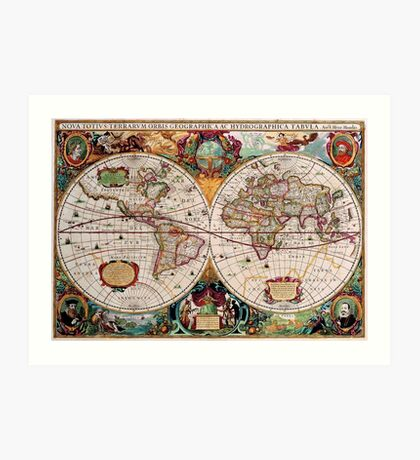 Old map of the world Art Print